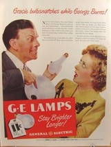 1946 George Burns & Gracie Allen GE General Electric Lamps Print Ad  - $9.99