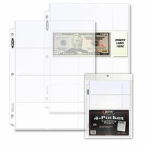1 Pack of 20 BCW 4-Pocket Currency Pages - $6.50