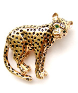 Brooch Gold Leopard Panther Black Spots Cat Green Eyes Unisex Male Men P... - $9.99
