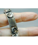 1960's Warsaw Poland Marked W830 Silver Hematite Link Bracelet Signed SM - $150.00