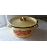 Vintage enamel Kitchen Housewares Cookware Casserole Pan Pot Soup Kettle... - $20.00