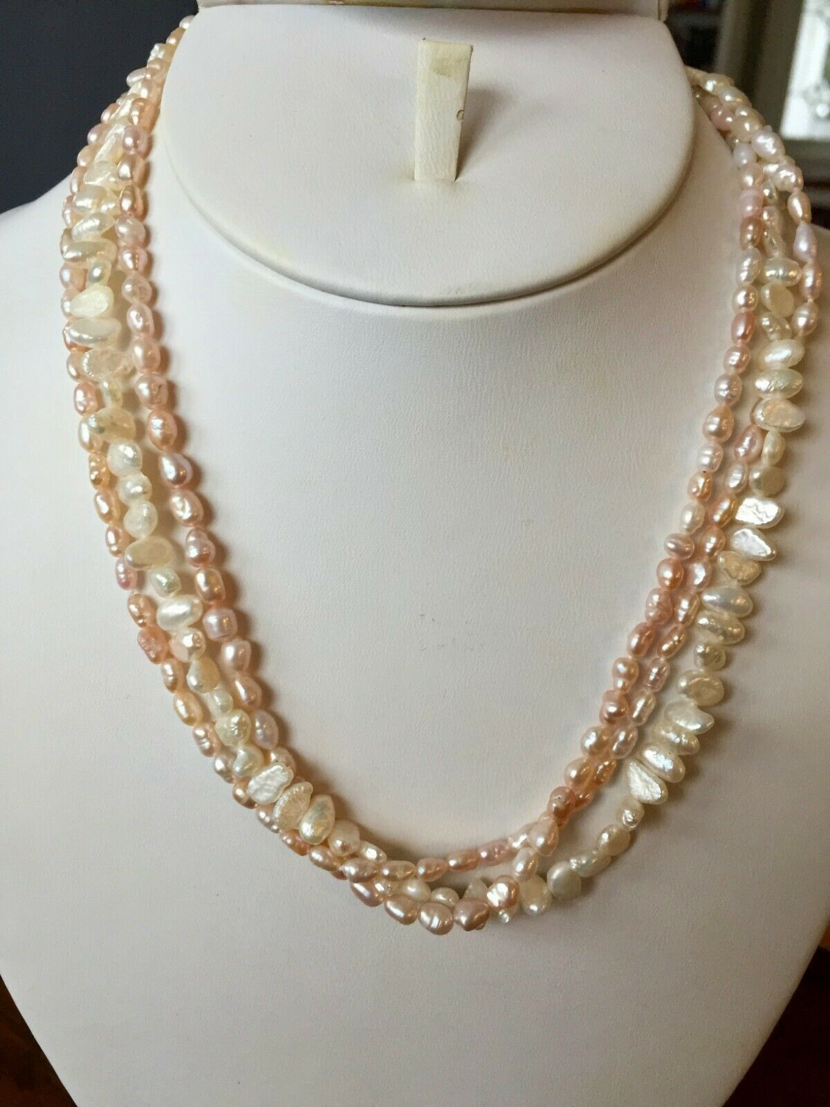 """Pink & White Seed Pearl Baroque Necklace 17.5"""" Freshwater 14k Gold filled Strand"""