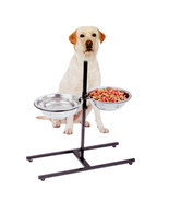 Adjustable Metal Feeder With 2 Stainless Steel Pet Dog Bowl - $24.14