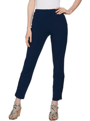WOMEN WITH CONTROL Size L Slim Leg Ankle Pants with Lace Detail MARINE NAVY