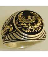 10 Karat Gold Roman Eagle Fasces signet silver ring - $140.00
