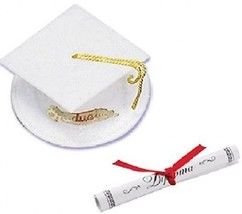 Oasis Supply Graduation Cap Cake Topper With Diploma, White - $17.24