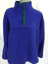 L L Bean WOMENs Blue Vintage T Snap Pullover Fleece Sweater Large L USA - $19.98
