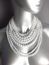 CLASSIC Graduated 7 Strands White Pearls Layered Drape Necklace Earrings... - $19.99
