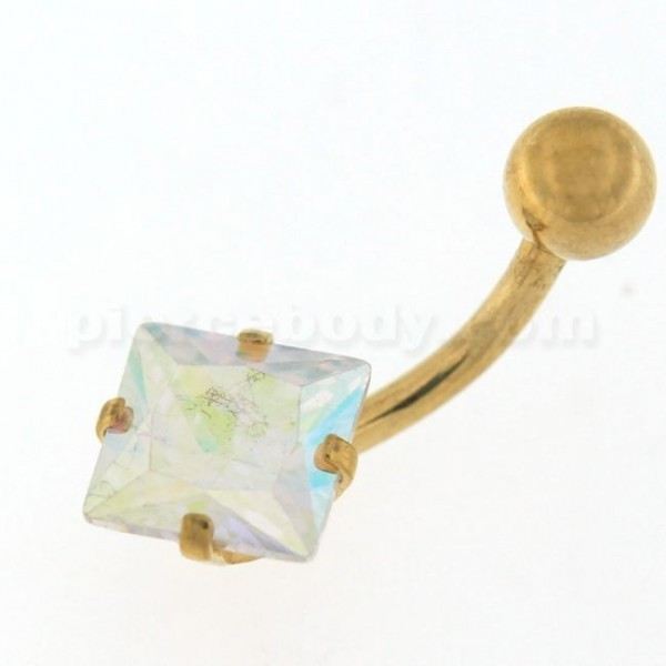 Jeweled Square Gold PVD Belly button Ring - $6.10