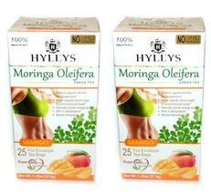 2 x Hyleys 100% Natural Moringa Oleifera Green Tea with Mango, 25 teabags - $10.99