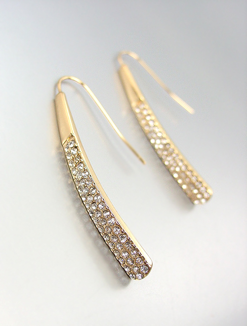 Primary image for CHIC & STYLISH Gold CZ Crystals Wire THREADER Dangle Earrings