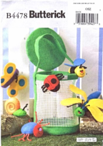 Butterick B4478 Soft Stuff Bug Catcher Basket & Finger Puppets Pattern - $12.99
