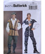 Butterick B4574 Men's Pirate Robin Hood Costume Pattern S-M-L - $9.99