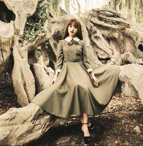 Greenish Brown College Style Slim dress large bow Doll Collar Stitching ... - $31.50