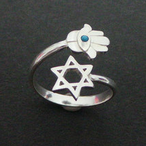 Turquoise  Evil Eye Hamsa Star of David Ring - Hannukah Hebrew Jewish Je... - $50.00