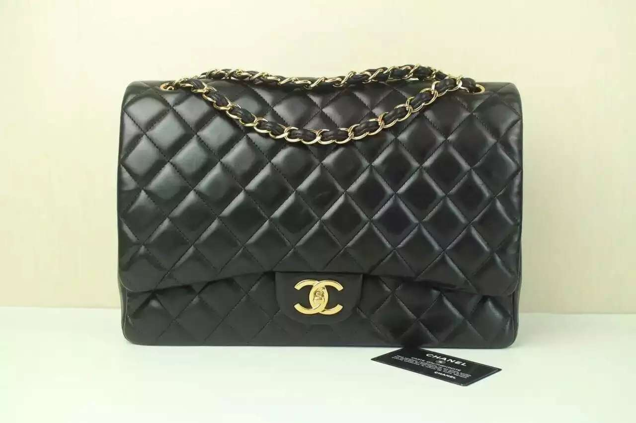 Authentic CHANEL Black Quilted Lambskin Leather Classic Maxi Double Flap Bag GH