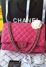 Authentic Chanel Hot Pink Fuchsia Maxi Caviar Leather Double Flap Bag SHW