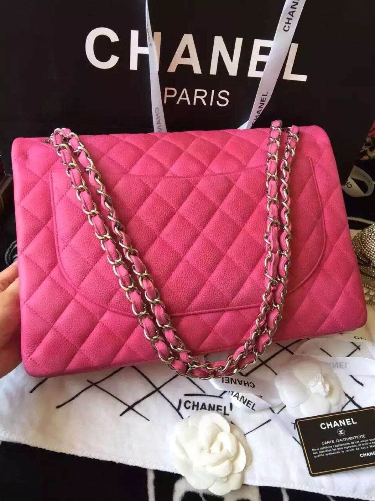 a2ef6b529d73 Authentic Chanel Hot Pink Fuchsia Maxi Caviar Leather Double Flap Bag SHW