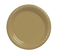 "Gold 10.25"" Plastic Dinner Plates 40 Per Pack Creative Converting - $13.81"