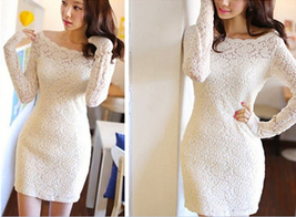 High Class Long Sleeved Lace Hip Sexy Bodycon Floral Logo Office Ladies ... - $23.50