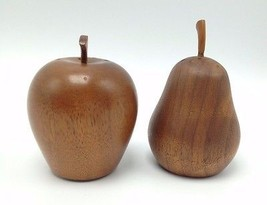 Wood Pear Apple Salt Pepper shakers Cork stoppers Set - $18.68