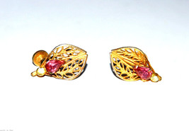 vintage pink rhinestone screw earrings - $5.93