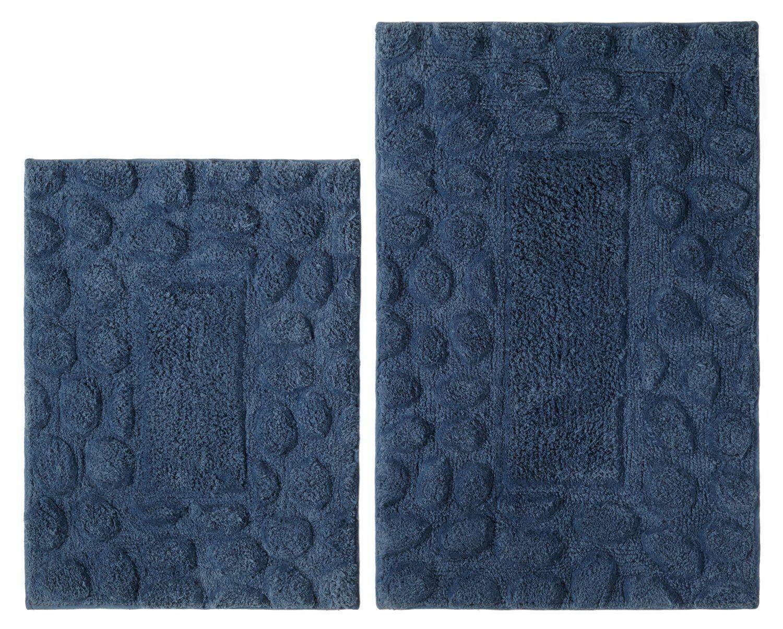 New 2 pc bathroom rug set navy blue 100 cotton w latex for Blue bath set