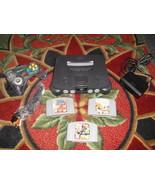 Nintendo 64 Charcoal Grey Console (NTSC) w 3 ga... - $89.09