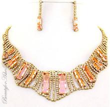 Glittering Gold Prom Glam Topaz Clear Dressy Rhinestone Crystal Necklace... - $27.97