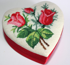 Rose Flower Petit Point Container Heart Love Trinket Box Red Satin Beauty - $24.97