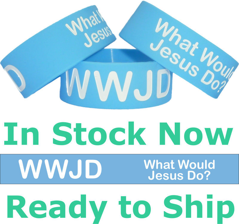 Primary image for WWJD What Would Jesus Do - Wide One Inch Wristband Bracelet W.W.J.D. New Band