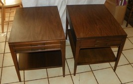 Pair of Walnut Formica Top Mersman Side Tables /  End Tables  (T111) - $499.00