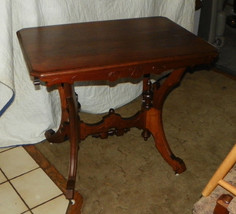 Eastlake Walnut Carved Trestle Table / Parlor Table / Entry Table  (T139) - $599.00