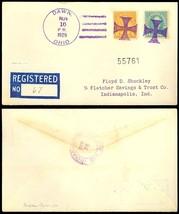 Maltese Cross Fancy Cancel Registered Cover Dawn, OHIO 1929 - Stuart Katz - $75.00