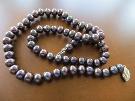 Vintage 5mm Black /Purple Real Freshwater Pearl Necklace gold filled cla... - $39.99