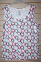 New Womens Plus Size 5 X 30 W 32 W Red White & Blue Star Print Stars Tank Top Shirt - $12.59