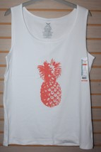 CUTE NEW WOMENS PLUS SIZE 4X 26W 28W WHITE PINEAPPLE SUMMER TIME RIBBED ... - $9.74