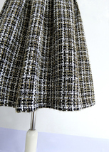 Black Winter Tweed Skirt Outfit A-line High Waisted Pleated Tweed Skirt image 3
