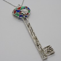 925 STERLING SILVER NECKLACE, BIG WORKED KEY CATHEDRAL RED, BLUE, GREEN ENAMEL image 1