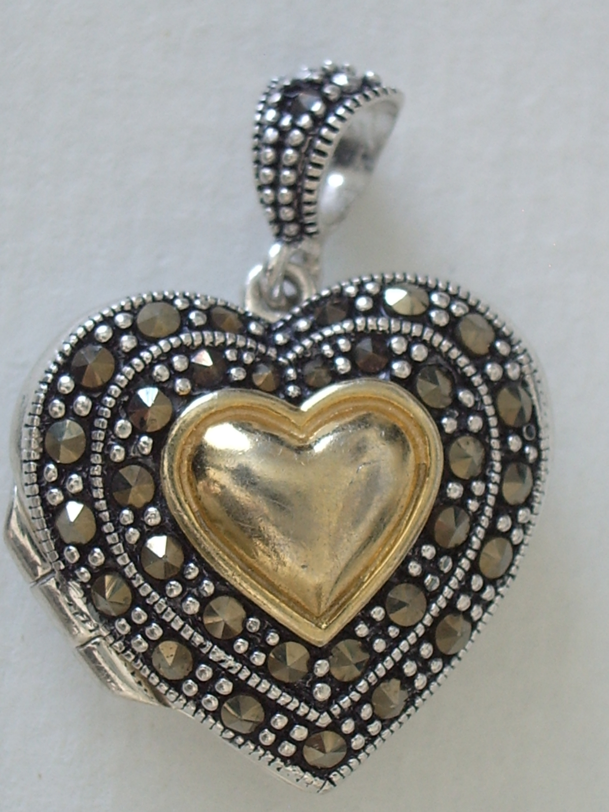 Primary image for Sterling Silver and Marcasite Heart Locket
