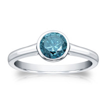 14k White Gold 0.75ct TDW Round Blue Diamond Solitaire Bezel Ring  - £471.25 GBP