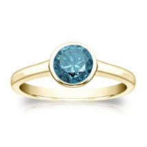 14k Yellow Gold 0.75ct TDW Round Blue Diamond Solitaire Bezel Ring  - £471.25 GBP