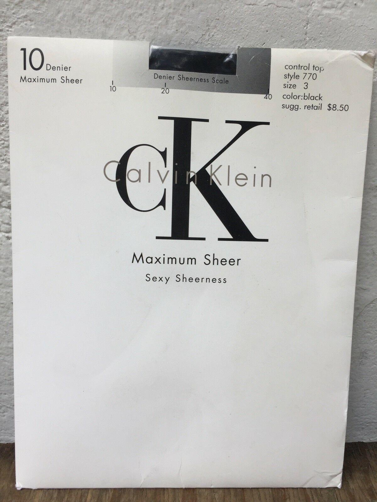 Vtg Calvin Klein 10 Denier Maximum Sheer Control Top Pantyhose Black Sz 3 770