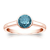 14k Rose Gold 0.75ct TDW Round Blue Diamond Solitaire Bezel Ring  - £471.25 GBP