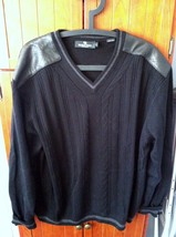BUGATCHI UOMO Men's XL Black V-Neck Sweater with Black Leather Patches - $46.74