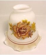 White Glass Bell Light Shade Rust Red Roses Gol... - $9.95
