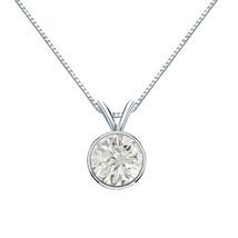14k White Gold TDW Round-Cut Diamond Solitaire Bezel Necklace  - $2,522.32