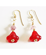 Red Flower Dangle Earrings, Crystal Beaded Earrings, Handmade Glass Bead... - $22.00