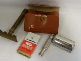 antique men's silver Gillette Razor, blade & box in Leather Case w/ bras... - $59.99