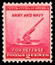 1940 2c Defense, Anti-Aircraft Gun, Army & Navy Scott 900 Mint F/VF NH - $0.99